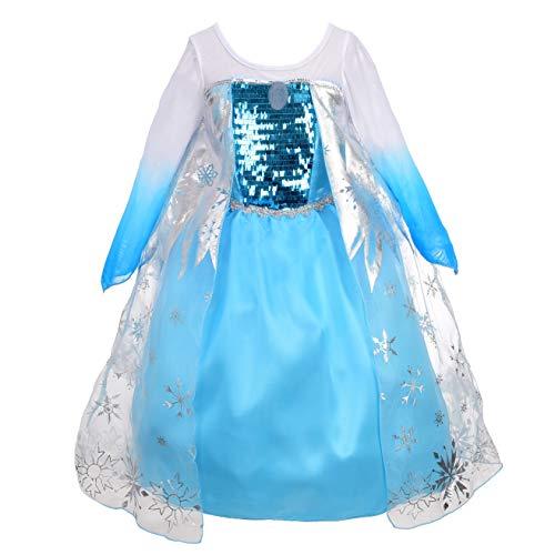 Lito Angels Niñas Disfraz de Princesa Elsa para Fiesta Disfrazarse Vestidos de Halloween Talla 2-3 años B