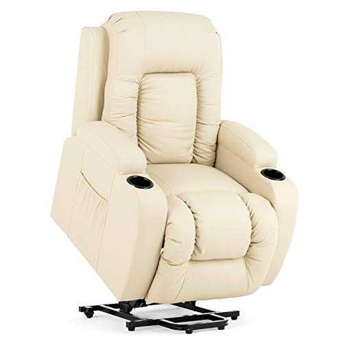 Mecor Power Lift Chair,Lift Recliner for Elderly,PU Leather Massage Recliner Chair with Heat/Cup Holders for Living Room
