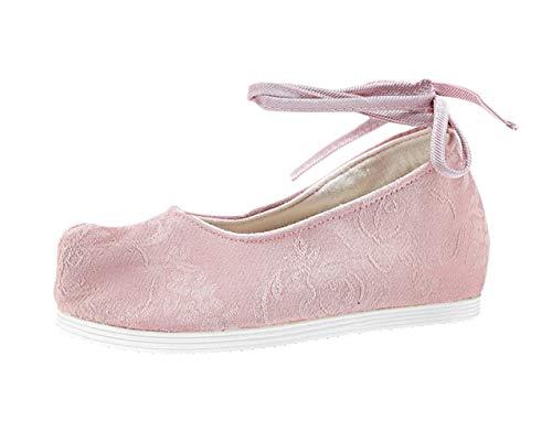 Liveinu Damen Gestickte Schnürhalbschuhe Wedge Schuhe mit Schnürsenkel Keilabsatz Ballerinas Clogs Pantoletten Espadrilles Hausschuhe Mary Jane Pink 39 EU