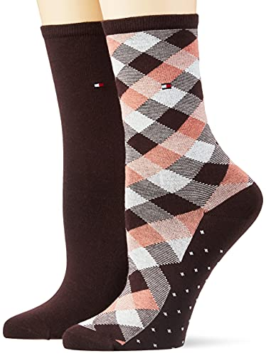 Tommy Hilfiger Womens Check Women's Classic Sock, Brown, 35/38