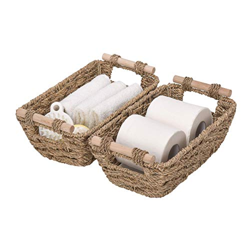 GRANNY SAYS Hand-Woven Storage Baskets with Wooden Handles, Seagrass Wicker Baskets for Organizing, Trapezoid Decorative Baskets, Medium, 11.6' x 6.9' x 4.1', Set of 2