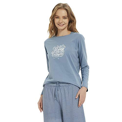 PimpamTex – Pijama de Mujer Invierno Algodón de Otoño-Invierno Camiseta Manga Larga y Pantalón Largo Estampados de Tacto Suave (XL, Tango índigo)