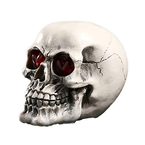 VOANZO Luz de cráneo LED de Halloween, adorno de calavera con luz LED, lámpara de escritorio para mesa de bar, cumpleaños, sorpresa, decoración de fiesta gótica (excepto batería)