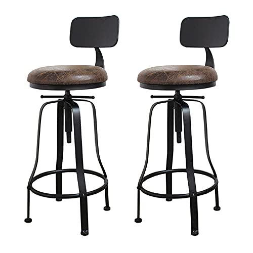 Sillas de Altura de Barra Juego de 2 con Altura de Asiento Ajustable, Taburetes de Bar Ajustables para Cocina Silla de Comedor, Pub