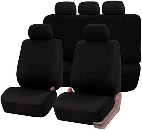 TLH Multifunctional Flat Cloth Seat Covers Full Set Airbag Compatible Black Color Universal product image