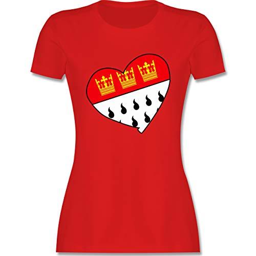 Karneval & Fasching - Köln Wappen Herz - L - Rot - Tshirt köln Karneval - L191 - Tailliertes Tshirt für Damen und Frauen T-Shirt