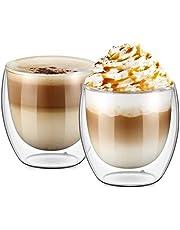 كؤوس بطبقة زجاجية مزدوجة لقهوة اسبريسو والقهوة التركية والشاي /فناجين قهوة للاسبريسو 250 ml