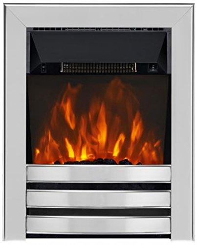 Focal Point Fires FPFAZ00828 Limerick LED Inset Electric, Brushed Steel