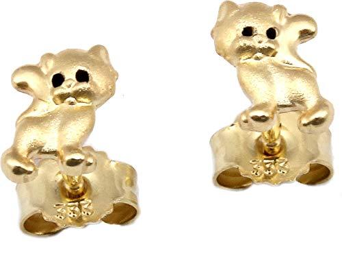 Ohrringe Katze Gold 333 Ohrstecker Kinderohrringe 8 Karat Gelbgold Kätzchen