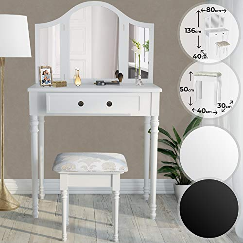 MIADOMODO Schminktisch - in der Farbe Schwarz oder Weiß, mit Schminkhocker und 3 Fach Spiegel - Frisierkommode, Schminkkommode, Kosmetiktisch