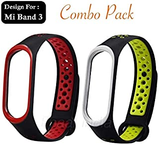 Epaal TPU Silicon Band Strap for Xiaomi Band 3/4, Mi Band 3 / Mi Band 4 (Combo: Red + Green-Under)