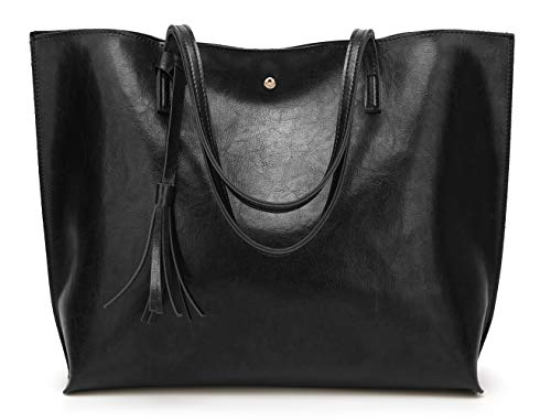 Women's Soft Faux Leather Tote Shoulder Bag from Dreubea, Big Capacity Tassel Handbag Black New S