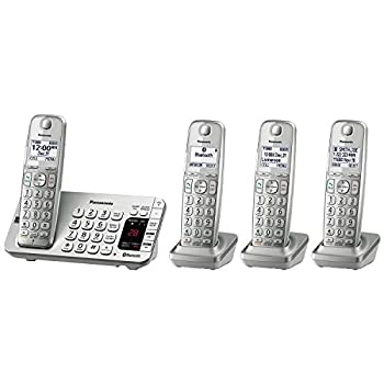 Panasonic Link2Cell Bluetooth Cordless DECT 6.0 Expandable Phone System with Answering Machine and Enhanced Noise Reduction - 4 Handsets - KX-TGE474S  Silver