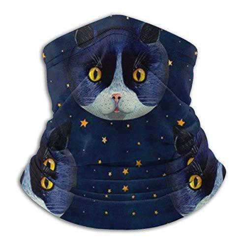 Etryrt Star Night Blue Cat Winter Fleece Neck Gaiter Neck Warmer Tube Weiche Elastische Sturmhaube Bandana Nahtloses Stirnband Outdoor