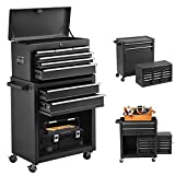8-Drawers Tool Chest Tool Box, Rolling Tool Chest with Wheels, High Capacity Tool Box with Lock, Detachable Tool Cabinet Organizer, Mobile Toolbox for Workshop Garage Mechanics (Black)
