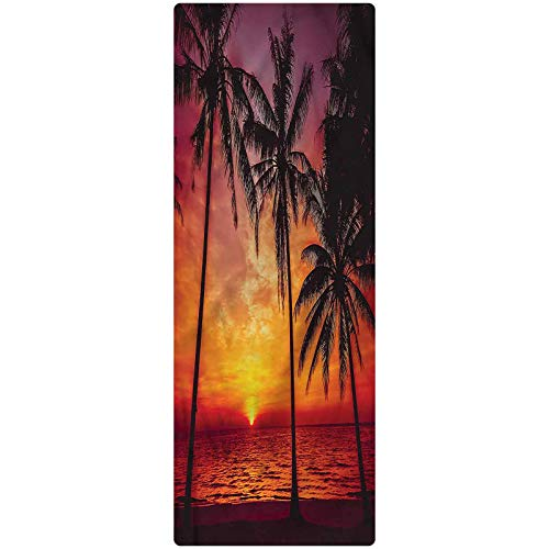 Tropical Runner Rug, 2'x4', Beach Palms Ocean Evening Plush Decorative Kitchen Mat with Non Slip Backing for Kitchen/Tub/Living Room