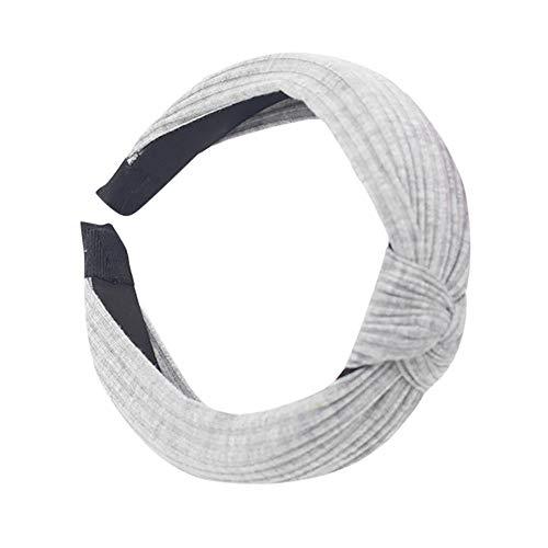 COZOCO 2019 Einfaches und nützliches Stirnband Damenmode Stirnband Twist Haarband Bogen Knoten Kreuz Krawatte Headwrap Haarband Hoop Grau Freie Größe