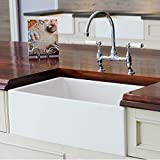 Mayfair SW1 30 Inch Kitchen Farmhouse Sink - Fireclay. White.