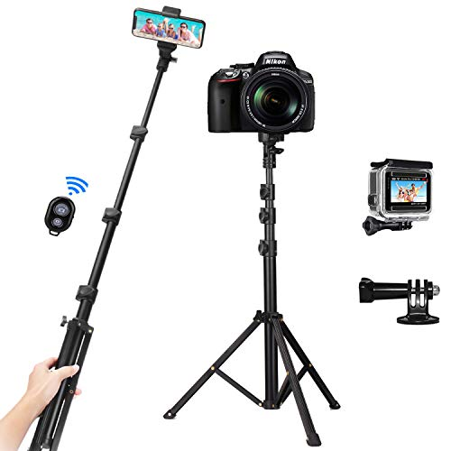 PEYOU Palo Selfie Trípode, 53'' Palo Selfie Movil, Compatible para Gopro, con Bluetooth Control Remoto y Adaptadore para Gopro, Compatible para iPhone 12 Pro MAX, 12, 11, X, Samsung Galaxy S10e, S20