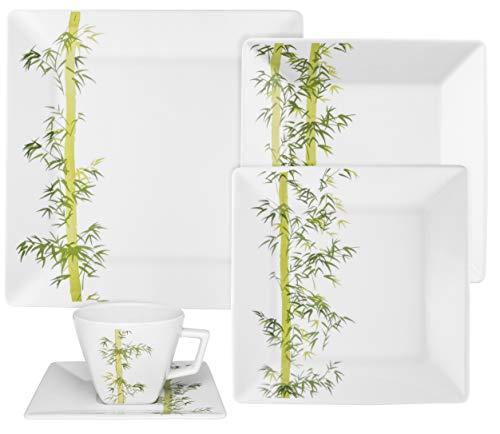 Aparelho de Jantar/Chá 20 Peças, Oxford, Quartier Bamboo - GM20-2416, Branco/Verde