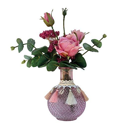 Künstlicher Blumenstrauß mit dekorativer Vase im Lieferumfang enthalten. Kunstblumen-Zentrum mit Rose und Eukalyptus-Blumenstrauß