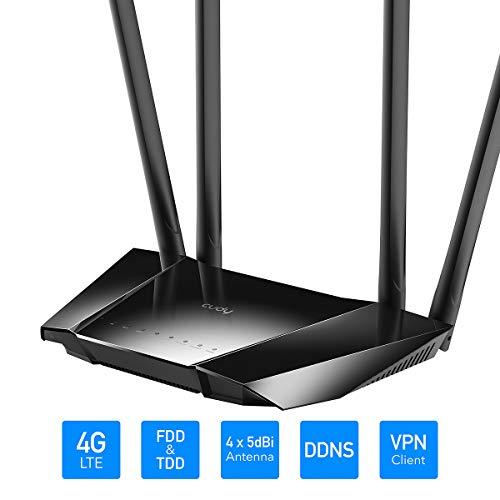 Cudy LT400 LTE Router Dualband 4G WLAN Router,150 Mbit/s LTE-Download, 300 Mbit/s WLAN, SIM-Kartensteckplatz für jeden Betreiber FDD und TDD, 64 MB RAM, PPTP / L2TP-VPN