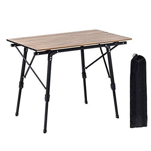 FUJGYLGL Ultraligero de Aluminio Que acampa Plegable Mesa Plegable portátil Enrollable, Altura Ajustable Conveniente Llevar Fácil, Conveniente for cocinar Que acampa