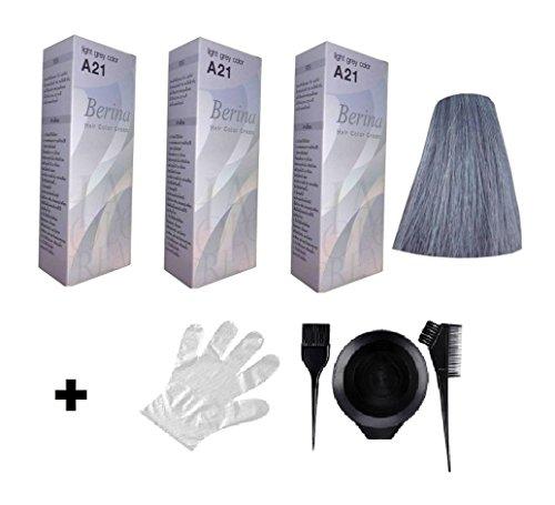 3 x Berina Haarfarbe A21 grau grey für langes Haar - inklusive Pinsel Kamm Färbebecher und Schutzhandschuh
