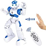 High-Tech Artificial Intelligence Robot Rechargeable Intelligent with Infrared Controller,Multi-Function USB Charging Children's Educational Dancing Toy,Programmable Robotics (Blue)