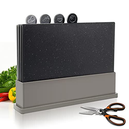 MASTERTOP Juego de 4 Tablas de Cortar en Plástico con Soporte Tablas de Cocina Multiusos en PP de Calidad Alimentaria Aptas para Lavavajillas Tablas para Picar Carne, Pescado y Verduras