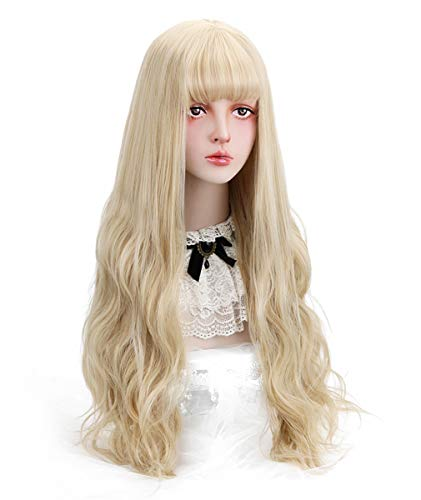 Long Blonde Synthetic Wig with Bangs - Natural Wavy Hair with Wig Cap 23
