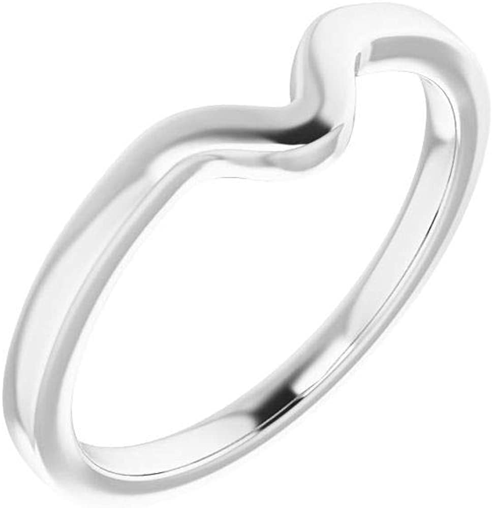 Solid 18K White Gold Curved Notched Wedding San Jose Mall x Band 9 Pea for Genuine Free Shipping 6mm