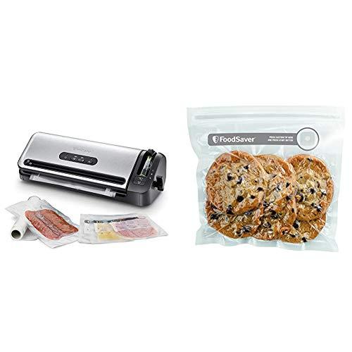 Foodsaver Kompakt-Vakuum-Dichtsystem mit Rollenlagerung & FVB015X Frischebeutel, Plastic