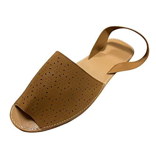 Xmiral Damenschuhe Weiche Sohle Einfarbig Hohle Seite Runder Kopf Flache Absatz Slip-on Sandalen Und Hausschuhe(42,Braun)