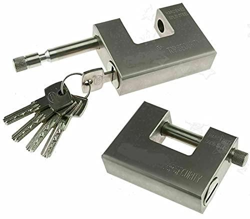 Catenaccio in Acciaio con 5 chiavi speciali, anti intrusione bocchetta di ingresso protetta da perforamenti cilindro da 1 cm