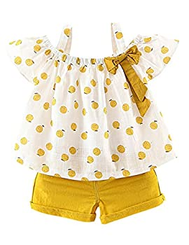 Toddler Baby Girls Clothes Ruffle Cami Polka Dot Tank Tops Blouse Striped Shorts Pants Summer Outfit Set Size110/2-3T  Orange