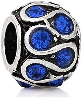 J&M Saphire Blue Crystal Swirl Spacer Charm Bead for Bracelets
