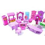 22 piezas de juego de casa de muñecas, muebles de plástico, habitaciones en miniatura, bebés, niños, juguetes de simulación, casa de muñecas colorida y brillante, viene con muebles y accesorios