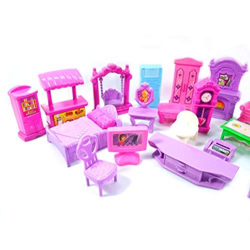 Amiispe Juego de casa de muñecas, Muebles de plástico, Habitaciones en Miniatura, bebés y niños Que fingen Jugar, Juguetes Coloridos y Brillantes, adecuados para más de 3 años