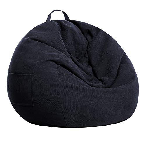 SANMADROLA Stuffed Animal Storage Bean Bag Chair Cover (No Beans) for Kids and Adults.Soft Premium Corduroy Stuffable Beanbag for Organizing Children Plush Toys or Memory Foam Extra Large 300L (Black)
