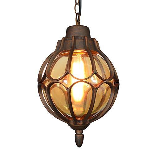 Vintage Außenlampe Pendelleuchte Aussen Innen Bronze Aluminium und Glasschirm Laterne Pendellampe Höhenverstellbar Industrie Retro-Lampe Kugel-Design Deckenleuchte,φ22.5 * 38.5CM IP44