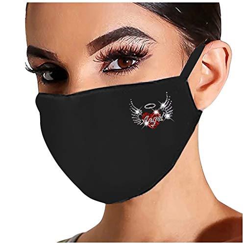 WoWer Glänzend Strass Mundschutz mit Motiv Diamant Print Maske Waschbar Wiederverwendbar Stoffmaske Baumwolle Mund-Nasen Bedeckung Atmungsaktiv Multifunktionstuch Halstuch Schals für Damen
