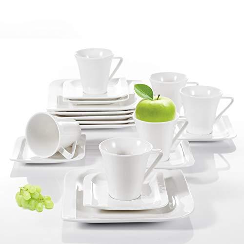 Vancasso, Gitana 18-teilig Kaffeeservice aus Weißem Porzellan, Kaffeeset für 6 Personen, Beinhaltet Kaffeetassen, Untertassen, Dessertteller