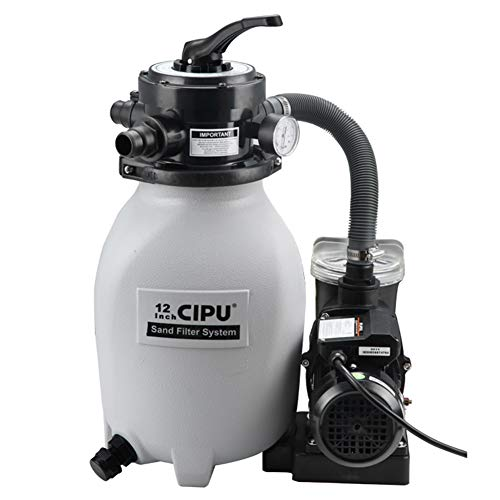 CIPU 12-inch Sand Filter Pump System Handy 4-Way Valve for Above Ground Pools with Prefilter Pool Pump 115V 6-Foot Cord for Easy Installation, SFPS12501