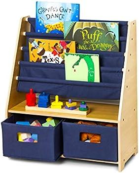 Wildkin Kids Canvas Sling Bookshelf with Storage for Boys and Girls
