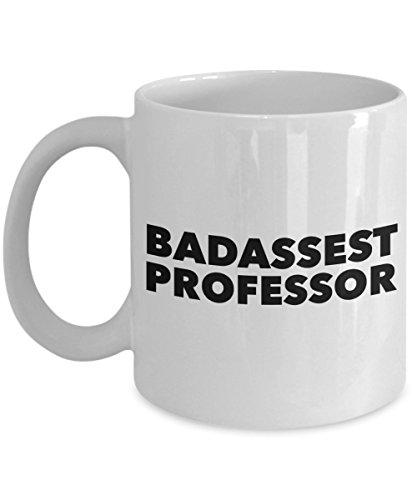 Rabbit Smile - Regalos para profesor Fun Novelty Cup' Badassest Professor' Adiós & Adiós Boss Leaving Presents Retirement Coworker Going Away Idea - Taza blanca de 11 oz