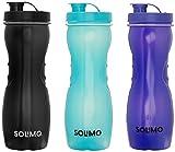 Amazon Brand - Solimo Frigo Plastic Water Bottle Set, Set of 3, 1L, Multicolour