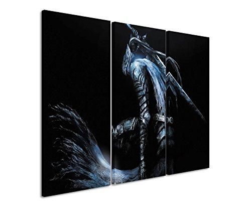 Leinwandbild 3 teilig Dark_Souls_3x90x40cm (Gesamt 120x90cm) _Ausführung schöner Kunstdruck auf echter Leinwand als Wandbild auf Keilrahmen
