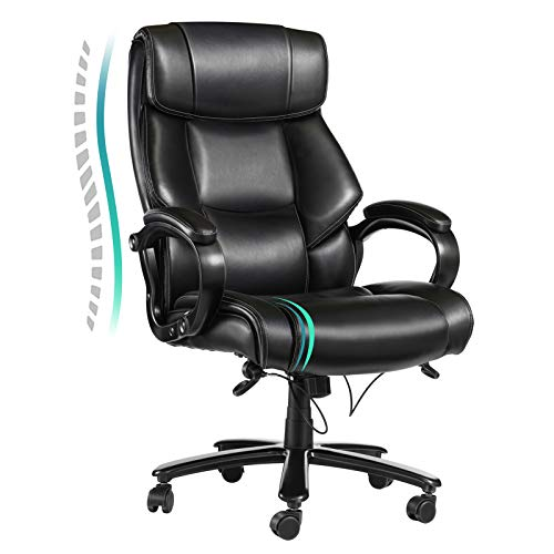 Vanspace Big and Tall Office Chair 400lbs Wide Seat Bonded Leather Executive Task Computer Chair High Back Ergonomic Desk Chair with Heavy Duty Metal Base, Thick Padding for Heavy People