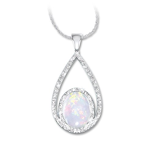 Opulence Australian Opal And Diamond Pendant Necklace by The Bradford Exchange